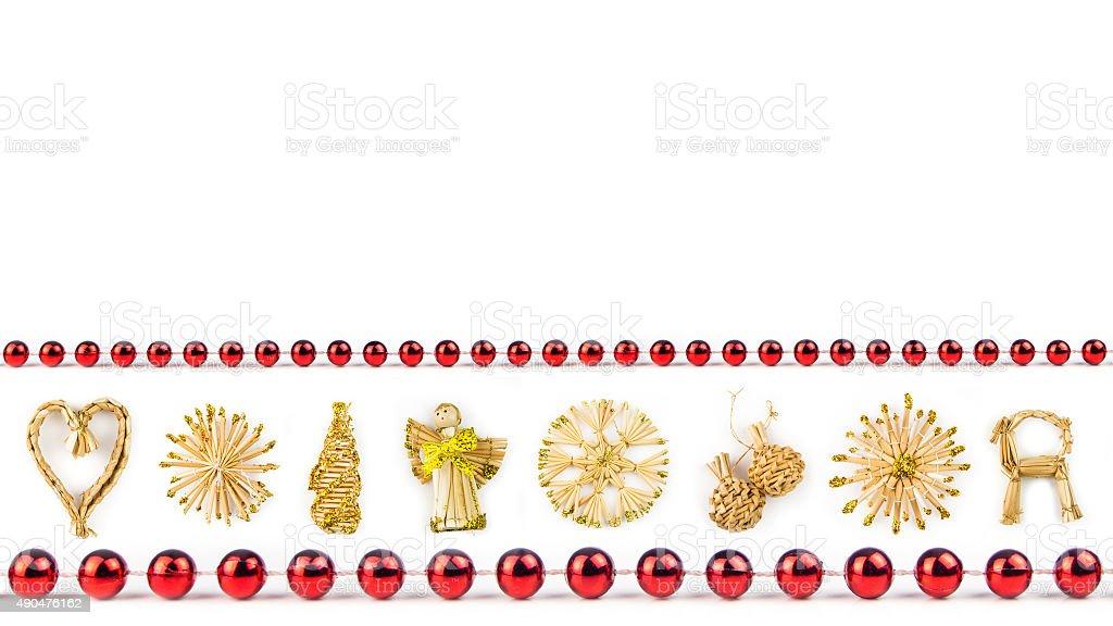 straw christmas symbols on white background stock photo