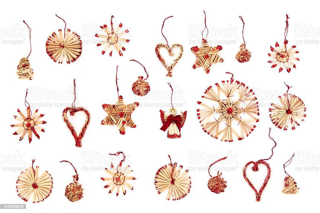 Straw Christmas Tree Decorations stock photo