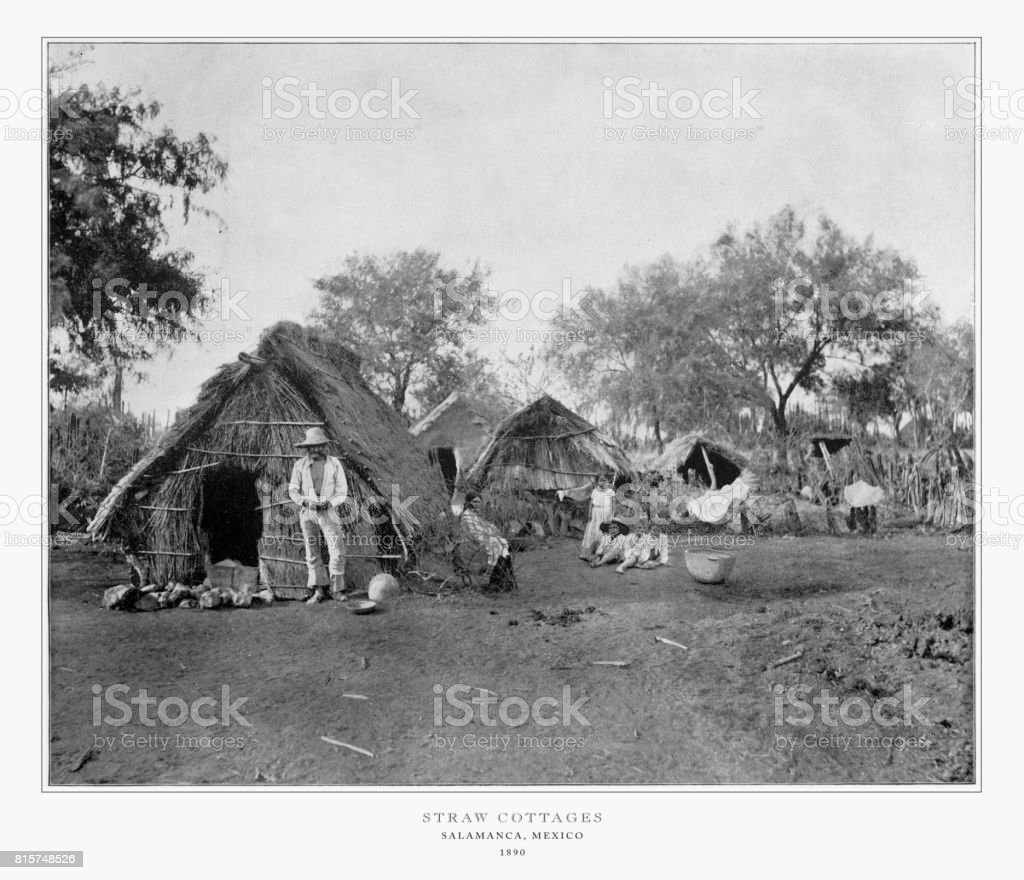 Straw Cottages, Salamanca, Mexico, Antique Mexican Photograph, 1893 stock photo