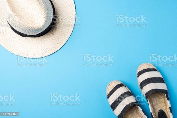 Straw hat and espadrilles on blue background picture id817860372?b=1&k=6&m=817860372&s=612x612&h=qsznm8cr cutha6umj2wqipepmsrt99j9mb1ad4mxfe=