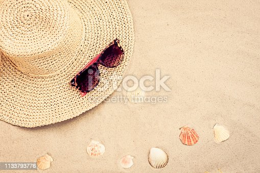 istock Straw hat and sun glasses on a tropical beach 1133793776