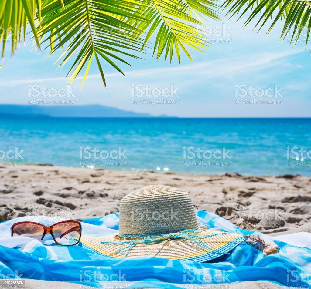 Strooien hoed en zonnebril onder een palmboom - Royalty-free Blauw Stockfoto