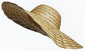 麦わら帽子にホワイトのカットアウト