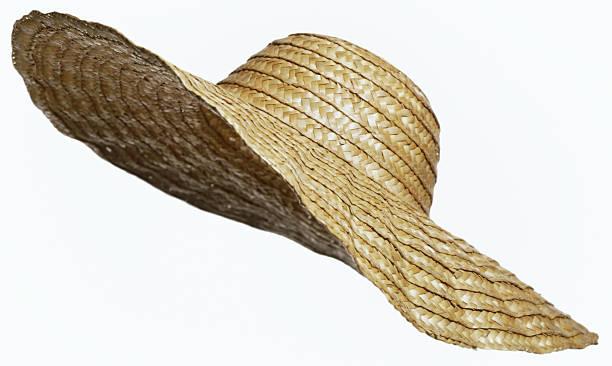 sombrero de paja abertura sobre blanco - accesorio de cabeza fotografías e imágenes de stock