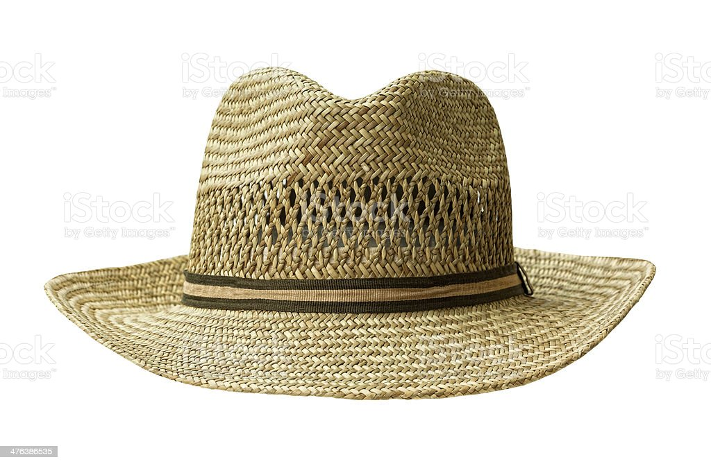 straw hat cut out on white stock photo