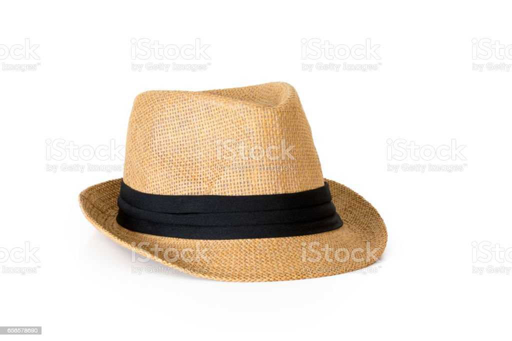 Straw hat isolated on white background stock photo