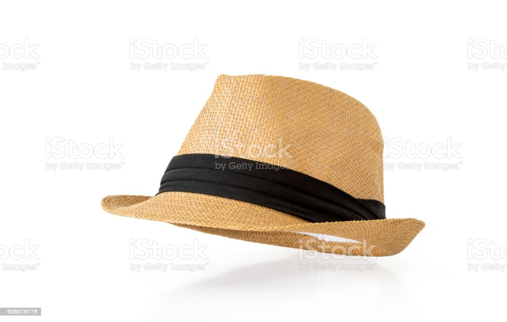 Sombrero de paja aislado sobre fondo blanco foto de stock libre de derechos