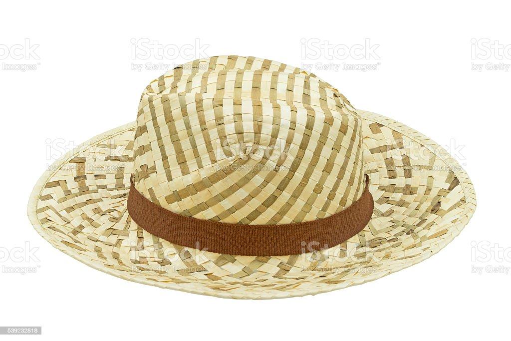 Sombrero de paja aislado sobre un fondo blanco con máscara de recorte. foto de stock libre de derechos