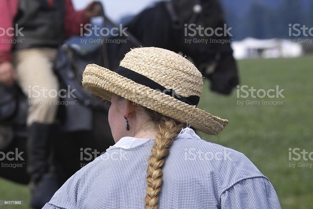 Straw Hat Spectator royalty-free stock photo