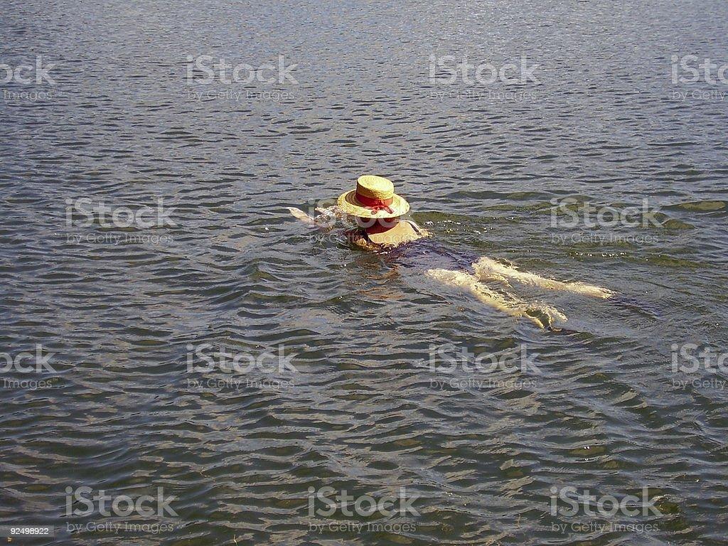 Straw Hat Swimmer royalty-free stock photo