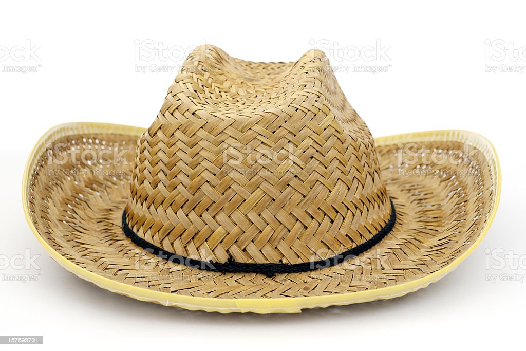 straw hat with black band stock photo