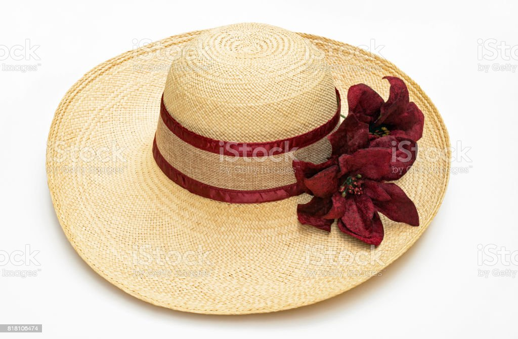 Chapéu de palha com acentos Borgonha - foto de acervo