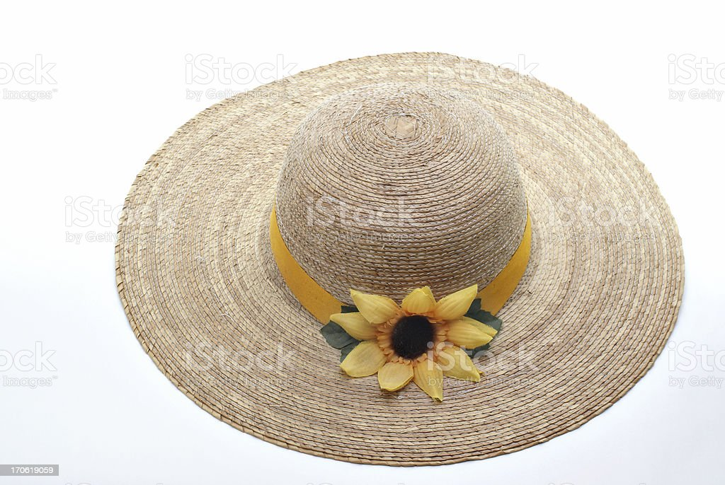 straw hat with sunflower decoration stock photo