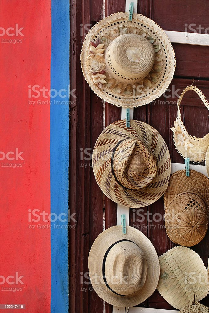 straw hats stock photo
