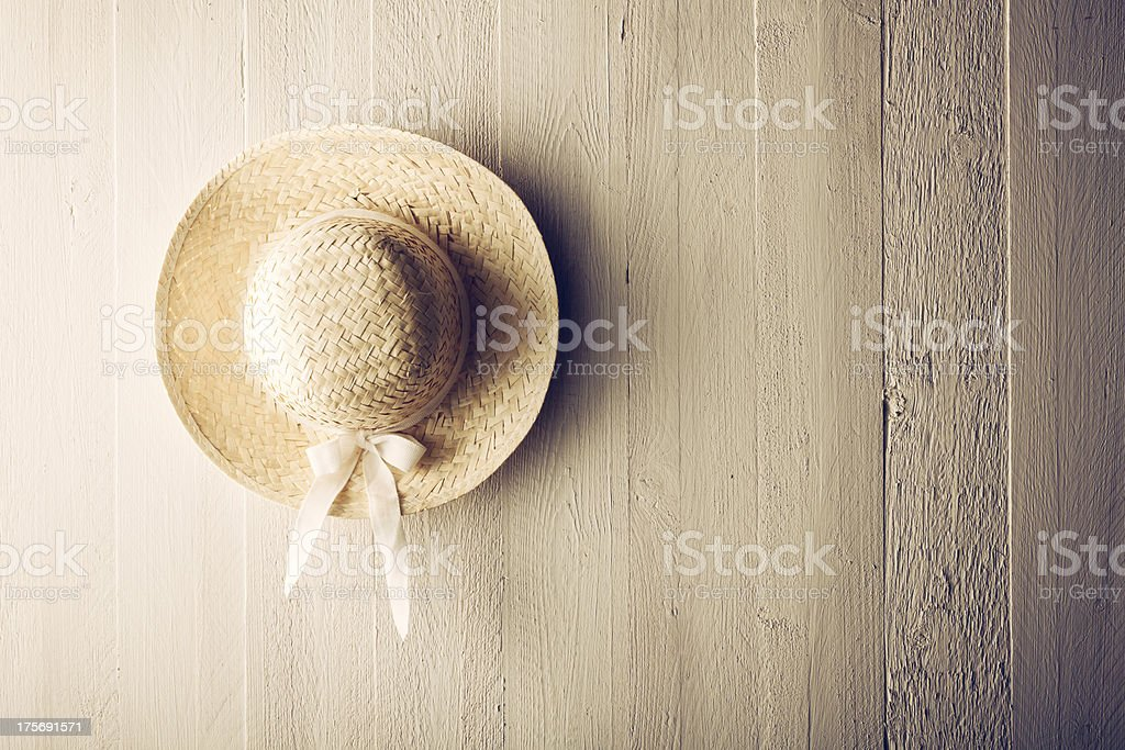 Straw heat on white painted wood wall stock photo