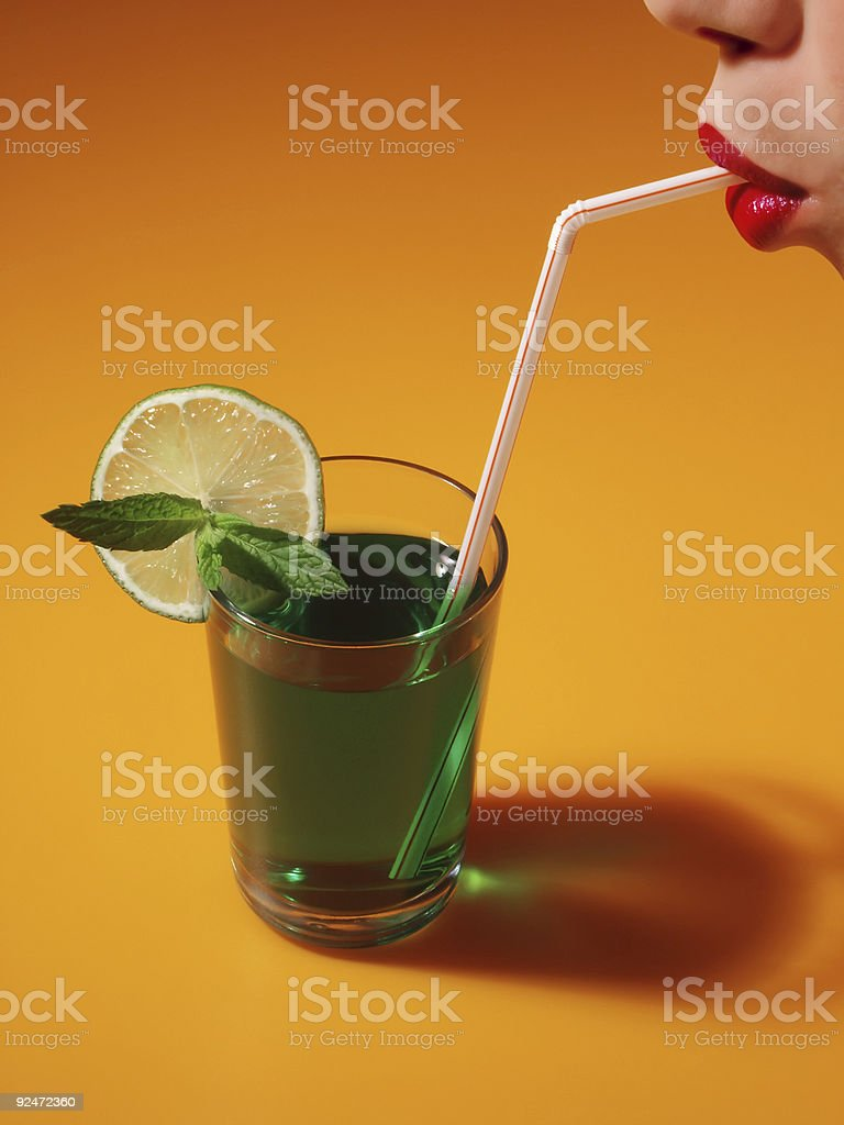 Straw in the Mouth royalty-free stock photo