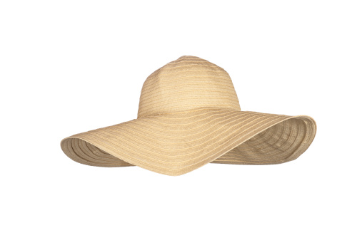 A Straw Largerimmed Beach Hat On A White Background Stock Photo - Download Image Now