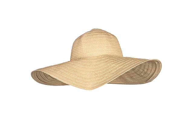 A straw large-rimmed beach hat on a white background