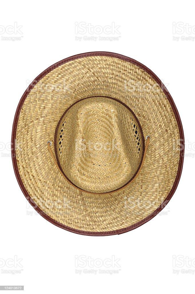Straw Men Hat Top View stock photo