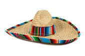 Straw Mexican Sombrero on white background