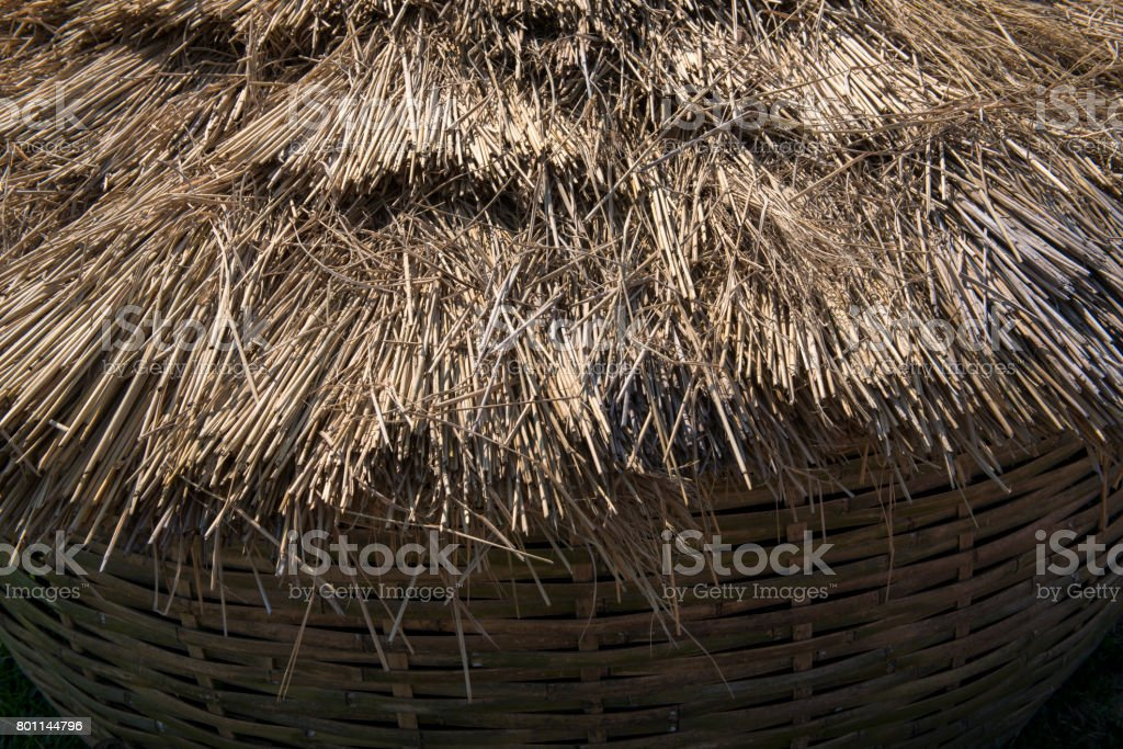 Straw pile close up stock photo