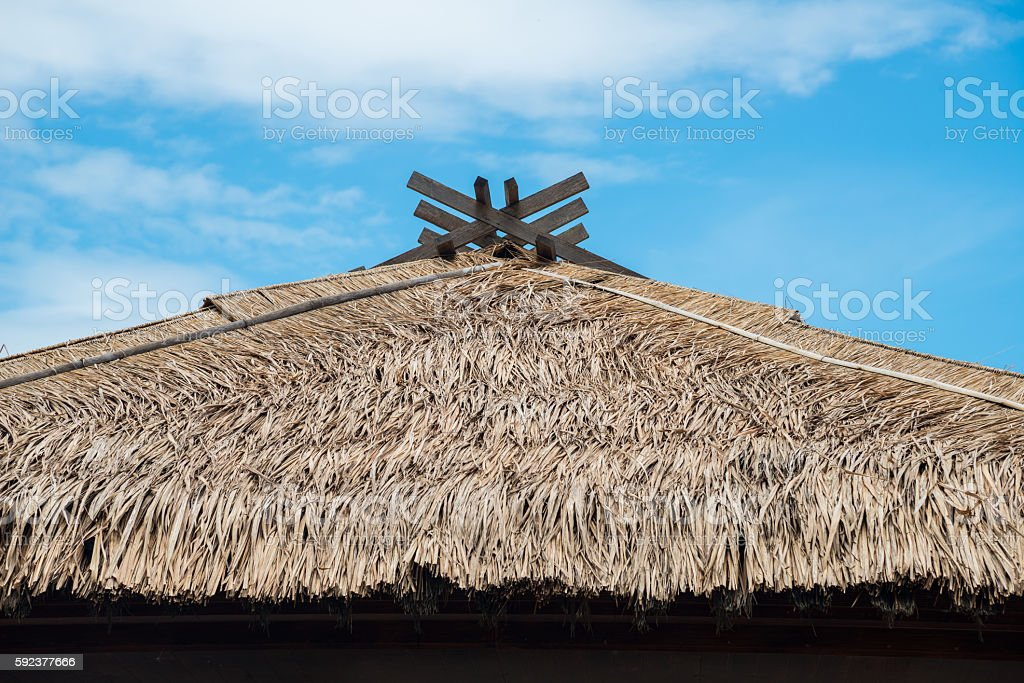 Straw roof in Japanese style. stock photo