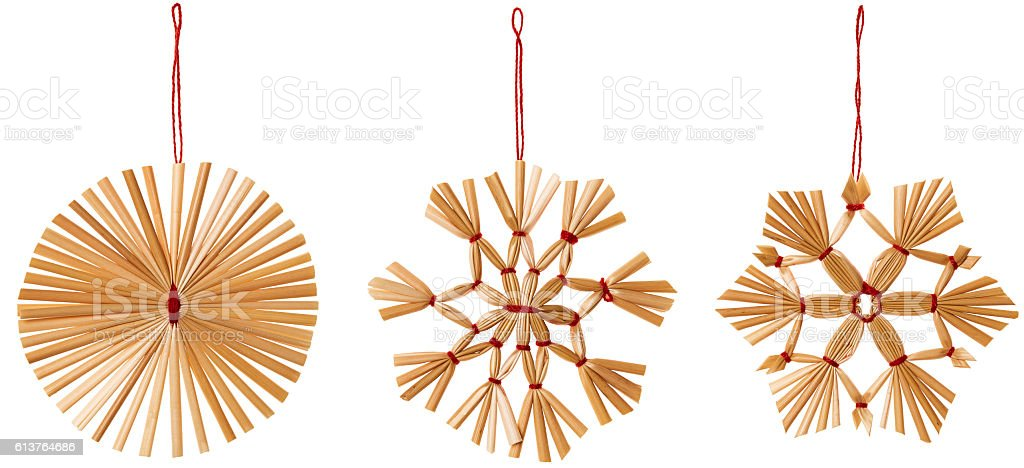 Straw Snowflake Hanging Decoration, Strawy Snow Flake Christmas Hang Set stock photo