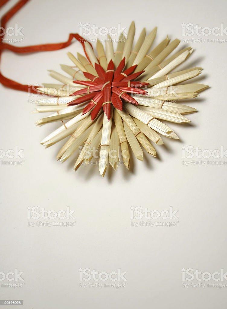 straw star ribbon stock photo