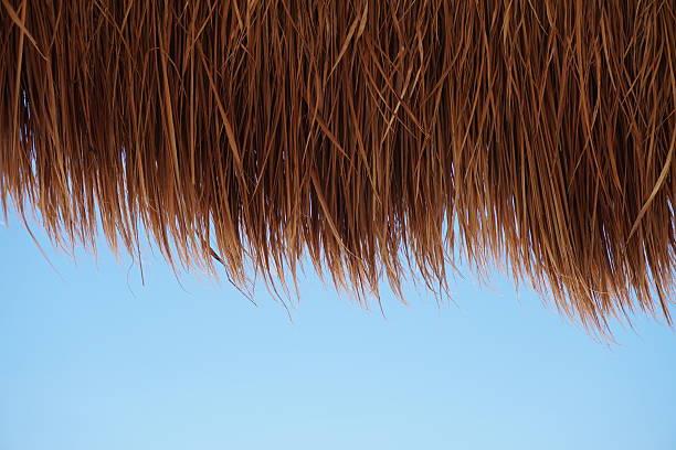 straw thatch from tiki hut - strohdach stock-fotos und bilder