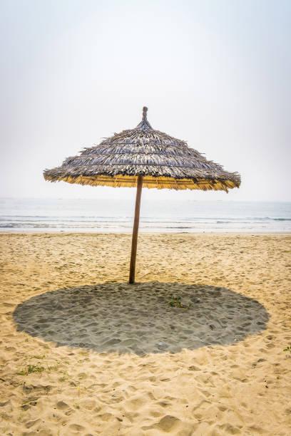 strohschirm in strand - strohdach stock-fotos und bilder