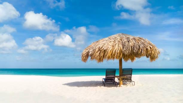 stro paraplu op eagle beach, aruba - aruba stockfoto's en -beelden