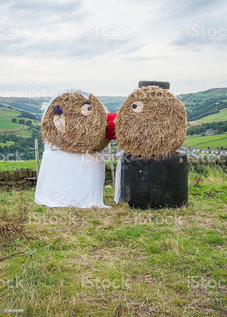 Straw wedding couple stock photo