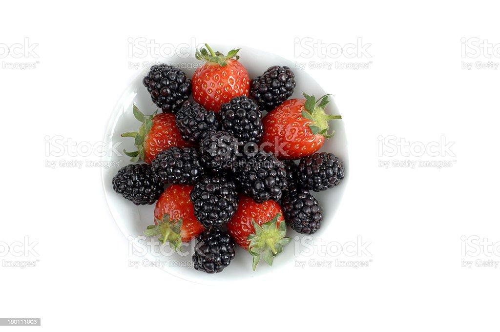 Strawberries and blackberries royalty-free stock photo