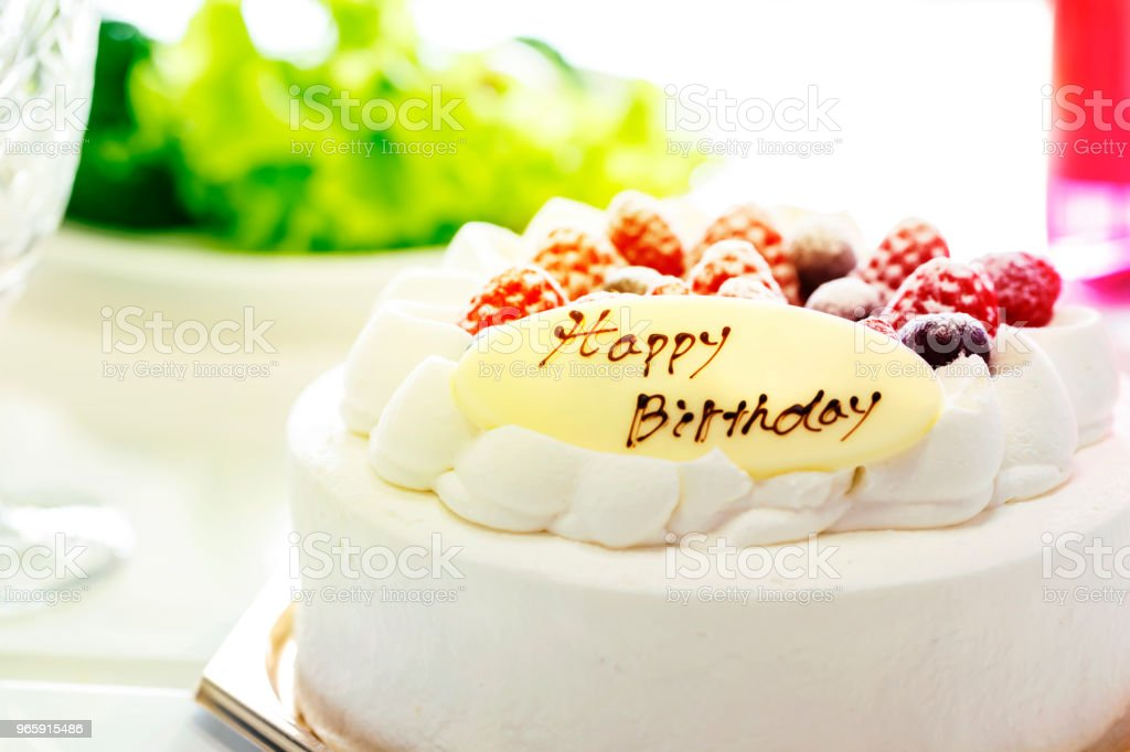 Strawberries and blueberries cream cake and salad and champagne isolated on white background.Close up - Royalty-free Angle Stock Photo