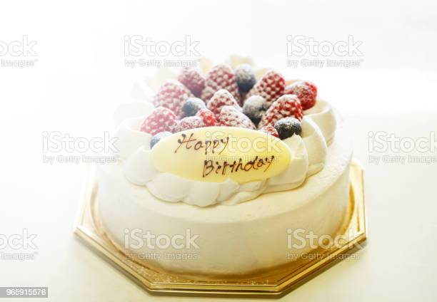 Strawberries And Blueberries Fresh Cream Cake Isolated On White Background Stock Photo - Download Image Now