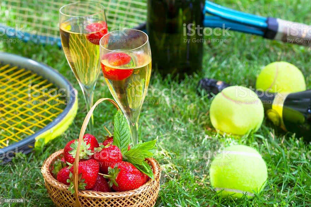 Strawberries and champagne during Wimbledon Strawberries and champagne during Wimbledon tournament Wimbledon Stock Photo