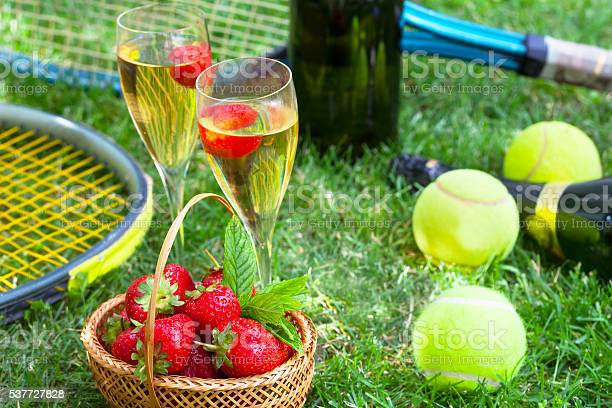 Strawberries And Champagne During Wimbledon Stock Photo - Download Image Now