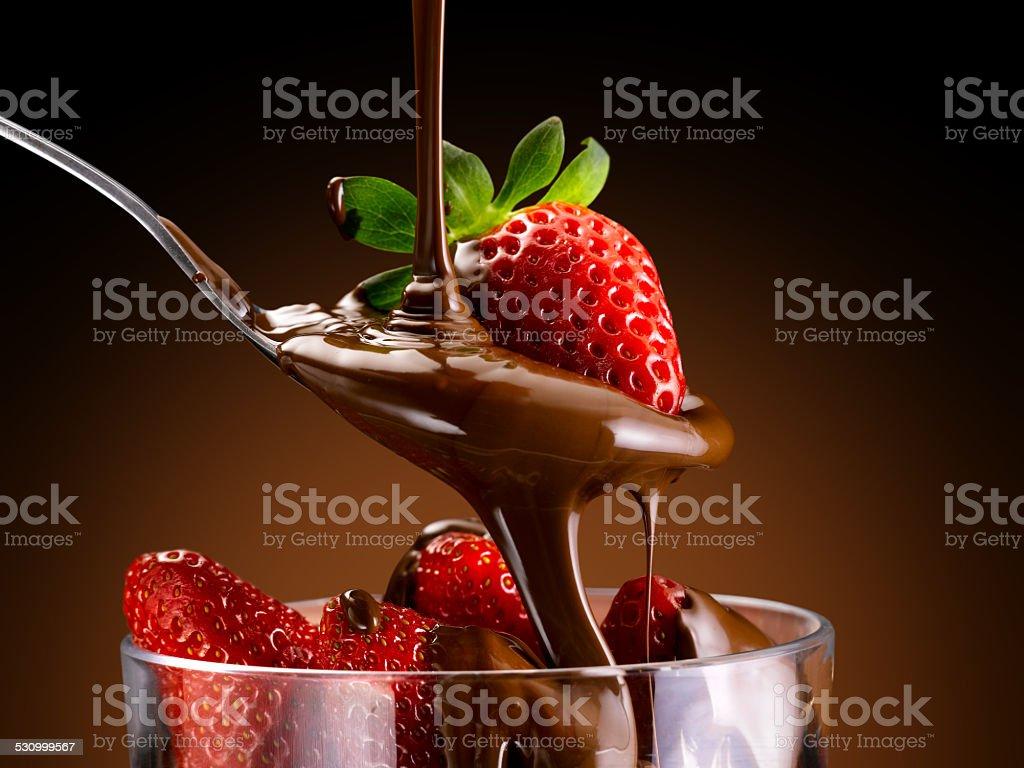 strawberries and chocolate stock photo