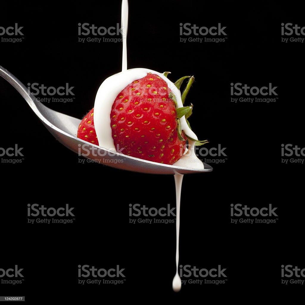 Strawberries and cream. stock photo