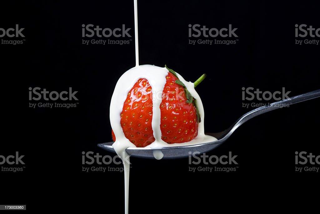 Strawberries and cream stock photo