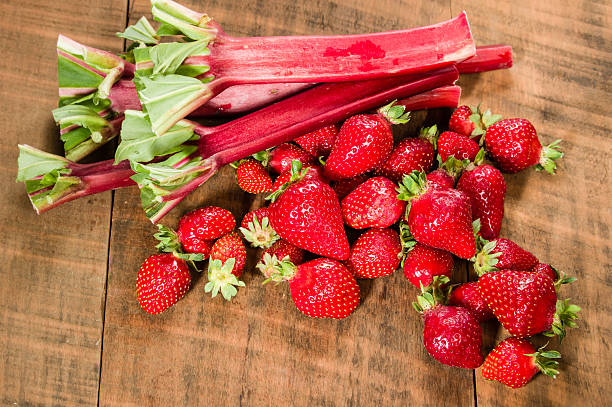 Strawberries and rhubarb for jelly stock photo