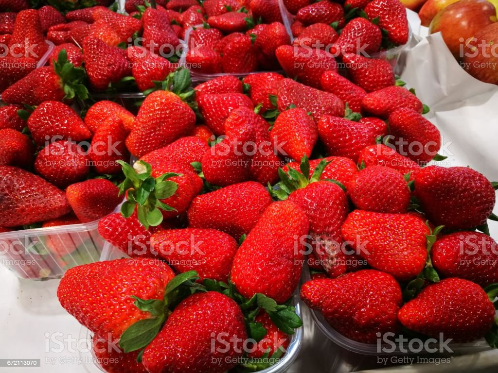 Strawberries At Farmers Market stock photo