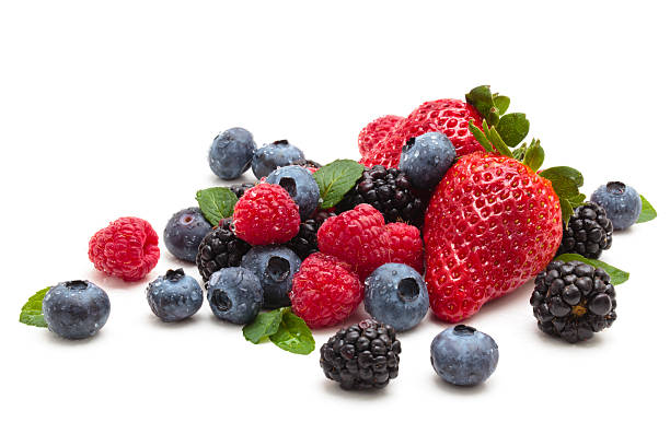 strawberries, blackberries and blueberries - berry stock photos and pictures