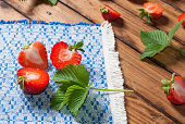 Strawberries closeup. an embroidered cloth
