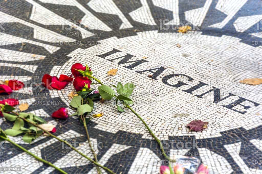 Strawberries fields memorial in Central Park - foto de acervo