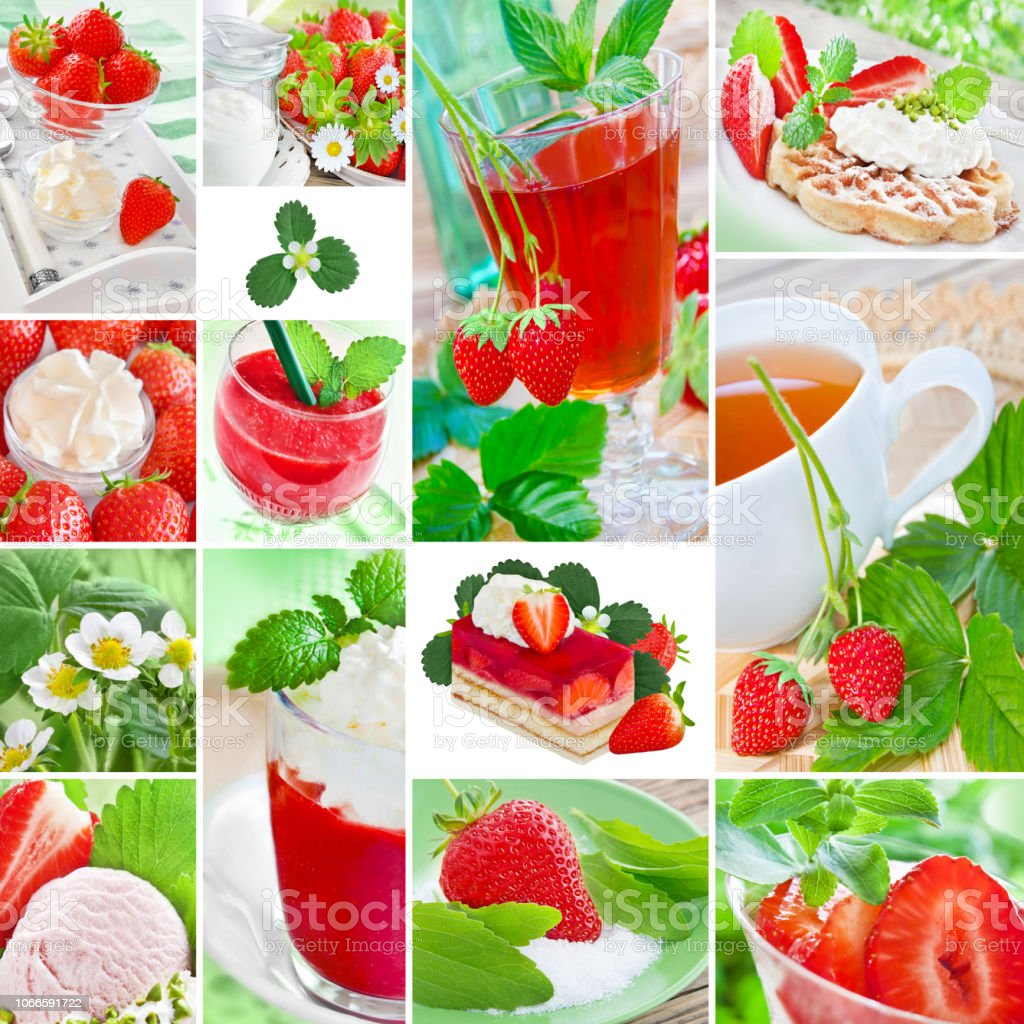 Strawberries collage food and drinks