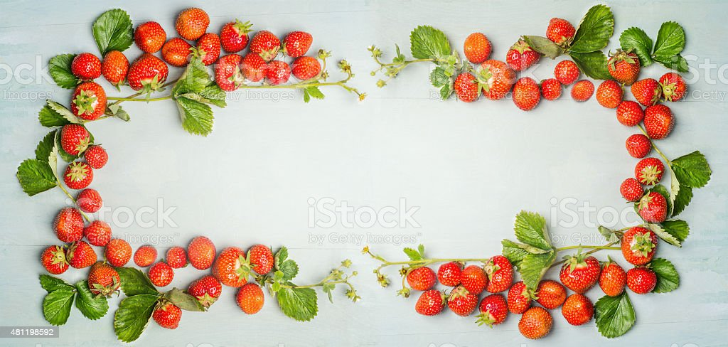 Strawberries Frame On Wooden Background Top View Banner stock photo ...