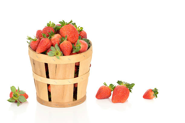 Strawberries in a Basket. stock photo