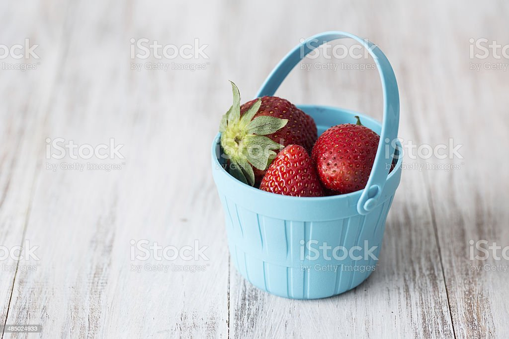 strawberries in a blue bucket stock photo