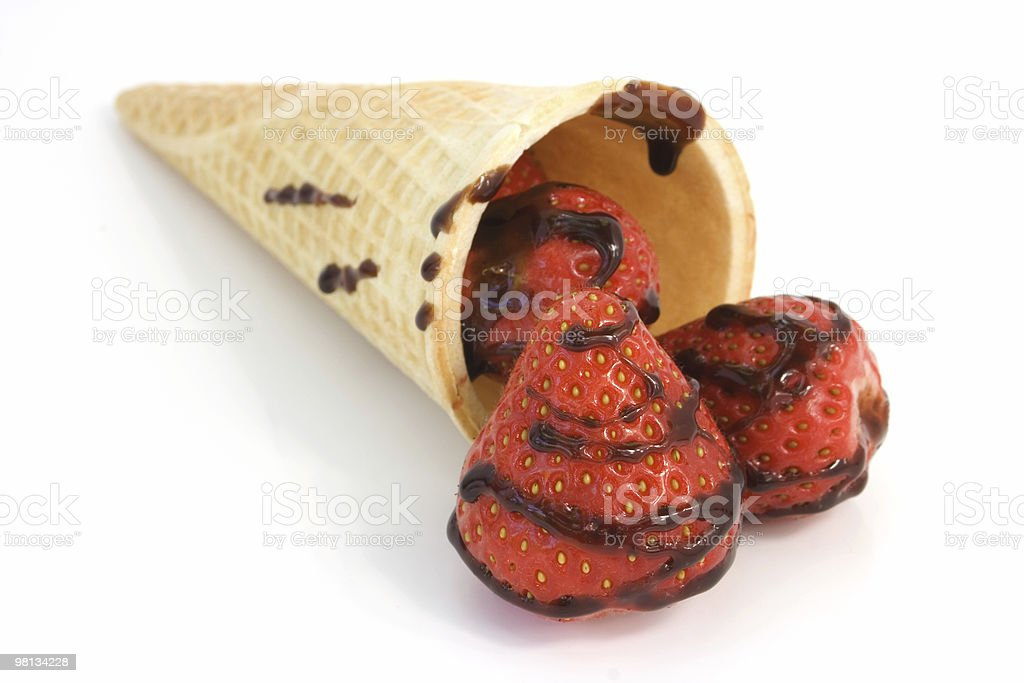 Strawberries in a cone royalty-free stock photo
